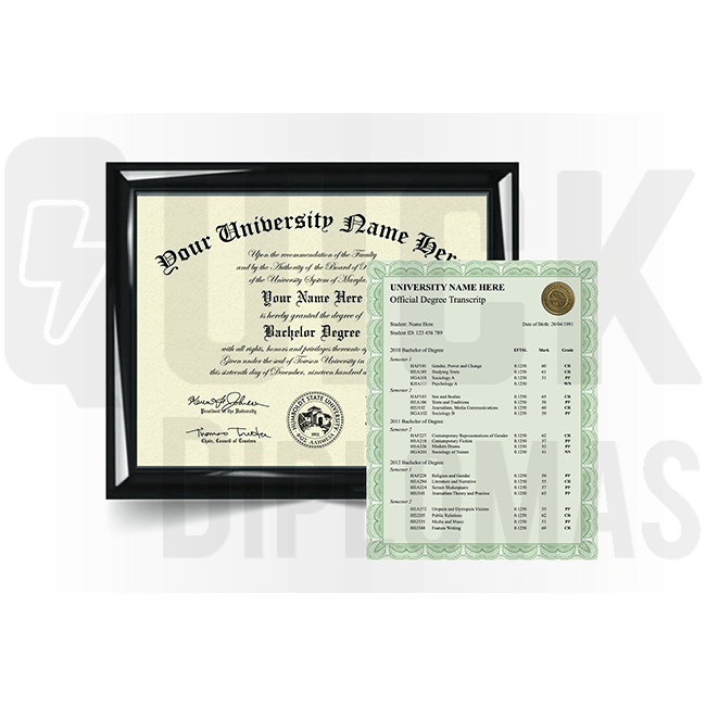 Custom bachelor degree from college or university along with transcripts. Total replacement package!
