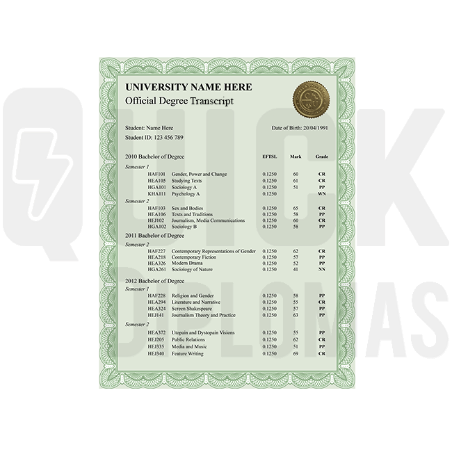 Get a custom bachelor transcript. Features undergraduate classes! Embossed & signed. Shockingly realistic!