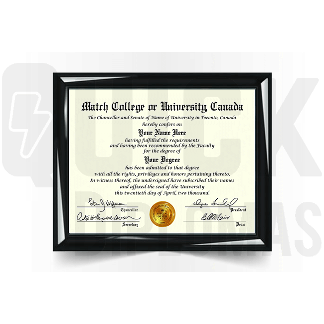 Get a college diploma from Canada! Realistic match! Ships fast & best quality guaranteed!