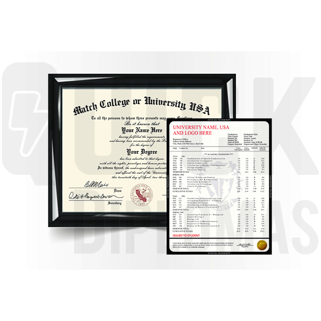 Get college/university diploma and transcript set from USA school! Total package! Ships fast & quality guaranteed!