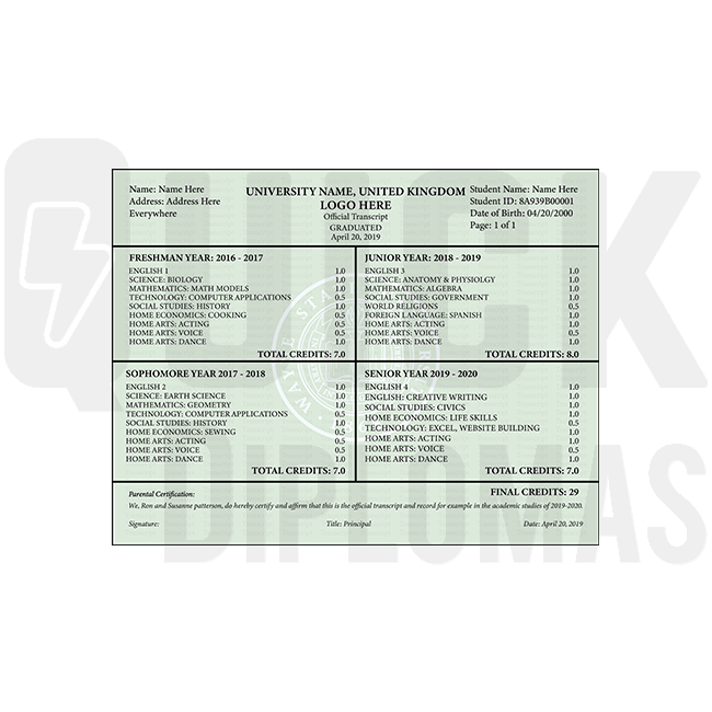 Find custom transcripts from United Kingdom colleges and universities! Embossed! Signed! Shocking Quality!