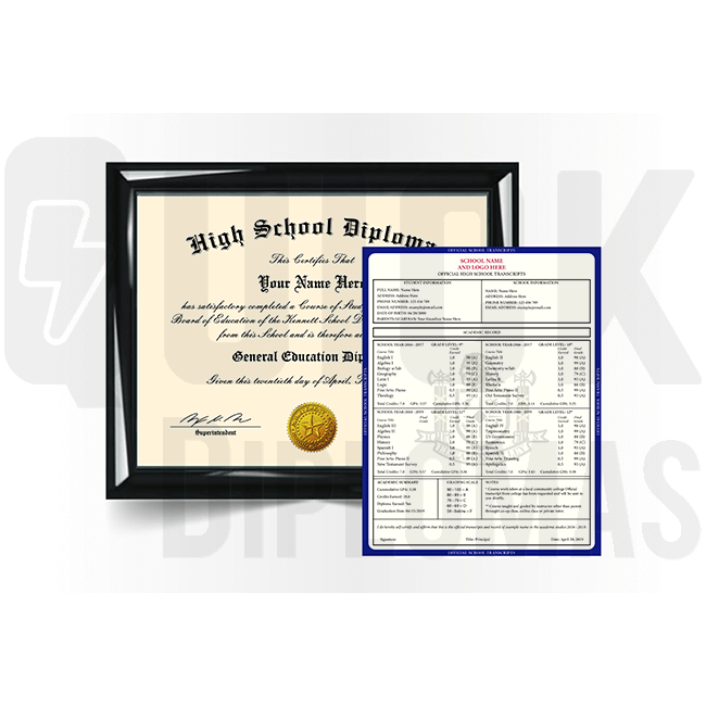Get an amazing high school diploma with matching transcript set. Complete package! Looks stunning & quality guaranteed!