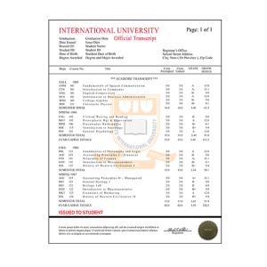 College University Transcript, International