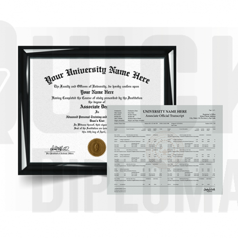 Custom associate degree from college or university along with transcripts. Complete replacement combo!