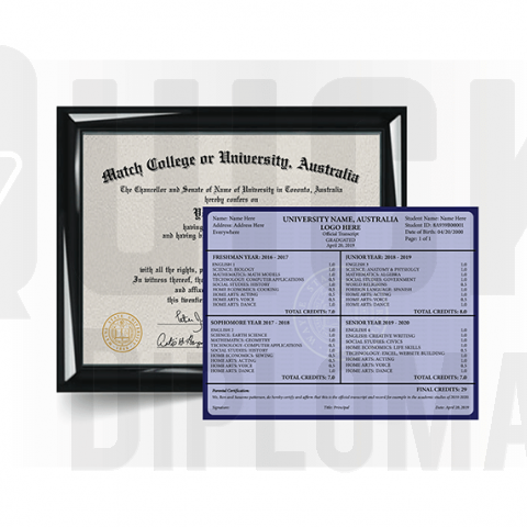 Get Australian college diploma with matching transcript! Super realistic prop! Amazing to see! Ships fast & guaranteed quality!