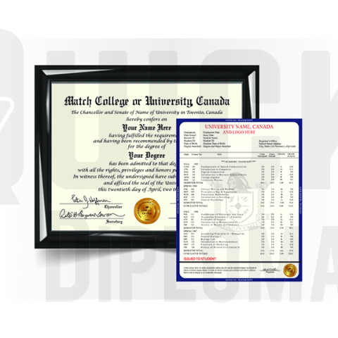 Find canada college sets with QuickDiplomas.com. Total diploma and transcript set! Amazing package!