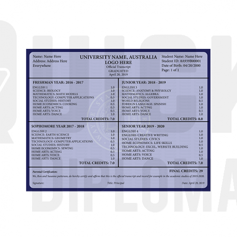 Find custom transcripts from Australia colleges and universities! Embossed! Signed! Stunning Quality!