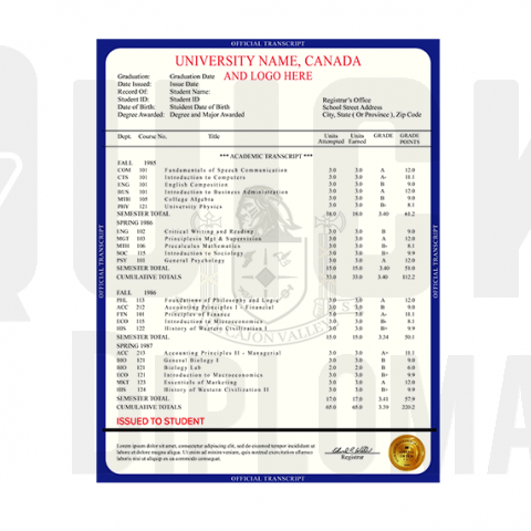 Find custom transcripts from Canada colleges and universities! Embossed! Signed! Real-Like Quality!