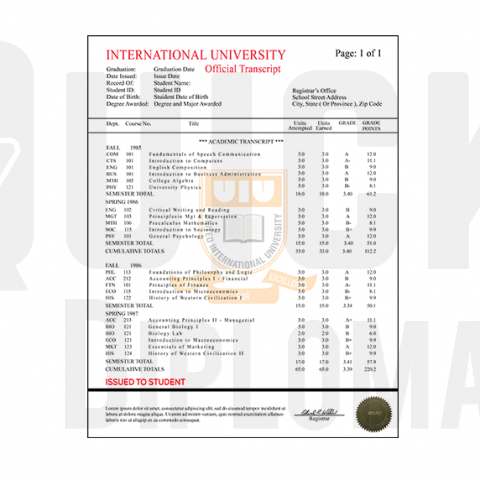 Get an international custom transcript made! Features colleges and university coursework! Embossed! Signed! Realistic!