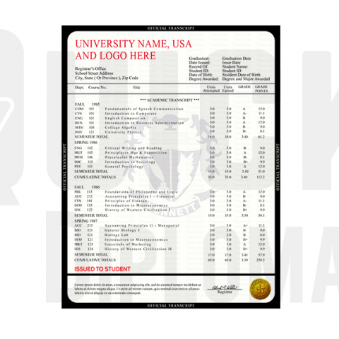 Find custom transcripts from USA colleges and universities! Embossed! Signed! Realistic Quality!