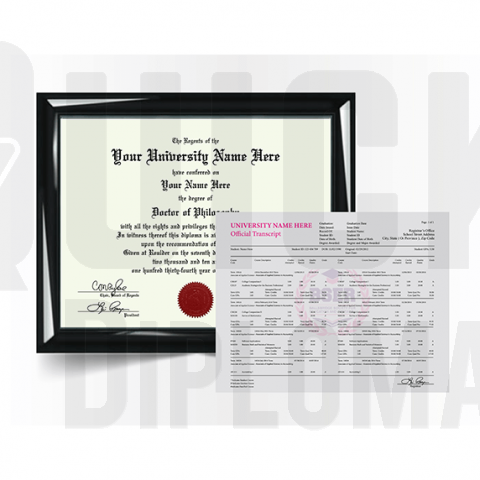 Custom doctorate/phd degree from college or university along with transcripts. Complete replacement package!