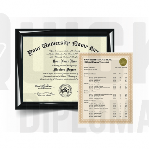 Custom master degree from college or university along with transcripts. Top replacement set!
