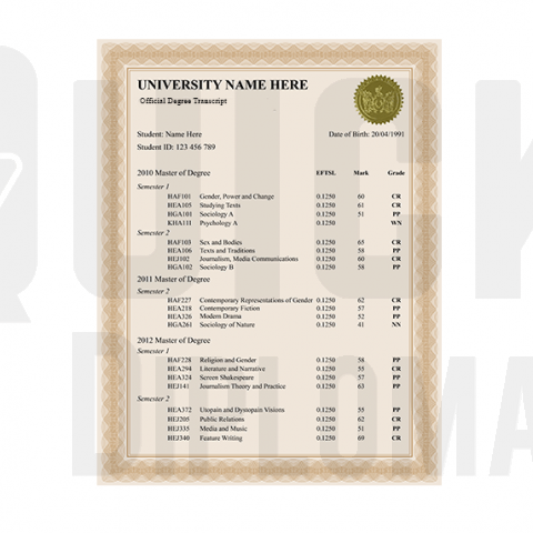 Get custom master transcripts or mark sheets. Real classes! Signed & Embossed! Super fast arrival & risk-free guarantee.